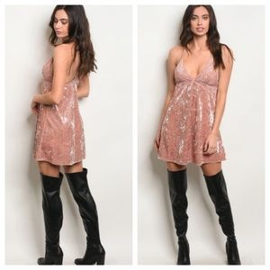 Dresses & Skirts - NWTS Mauve Blush Pink Velvet Babydoll Dress Night